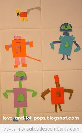 Robots de foamy para decorar baño niños