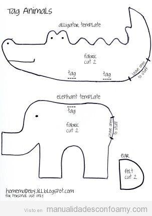 Molde para hacer manualidades con forma de cocodrilo y elefante en foamy o goma eva
