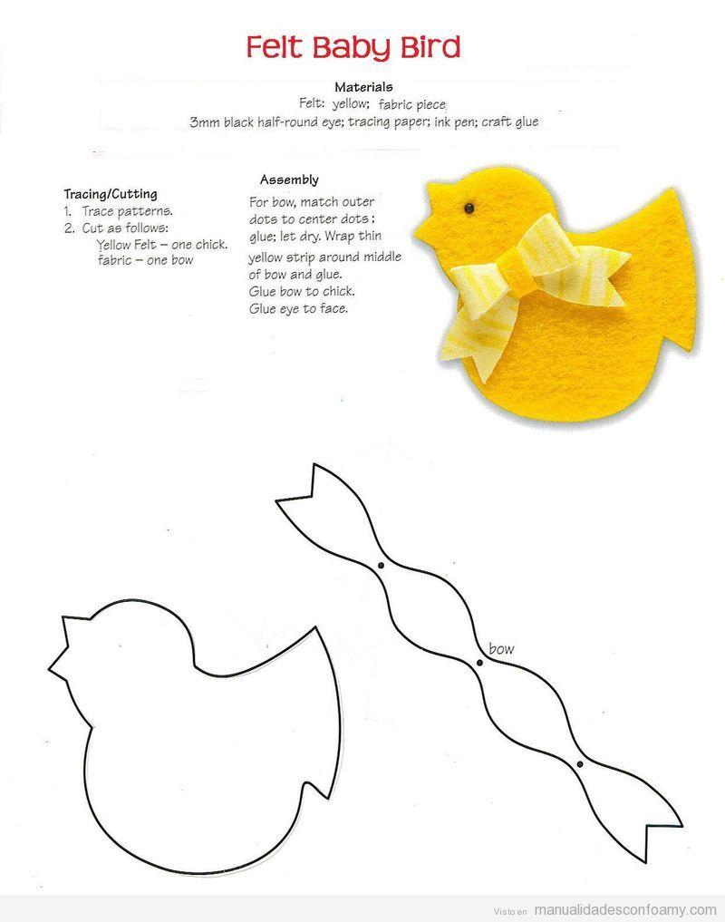 Plantilla o Molde para descargar para hacer una manualidad en goma eva con forma de pollo pequeño