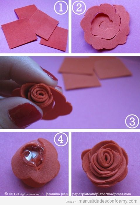 Rosa | Manualidades con Foamy | Fotos, Ideas tutoriales y ...