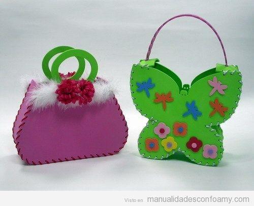 Bolsos para fiestas infantiles de niña hechos con foamy o goma eva