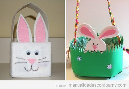 Canastas de foamy con conejos para Pascua