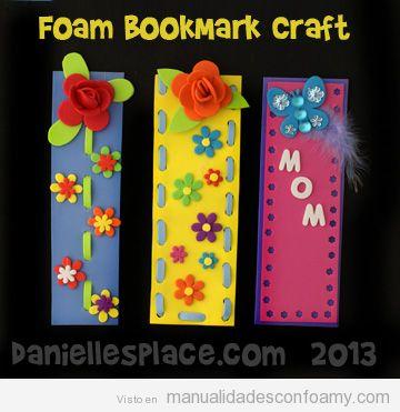 marcador o marcapáginas de libros hecho con foamy o goma eva