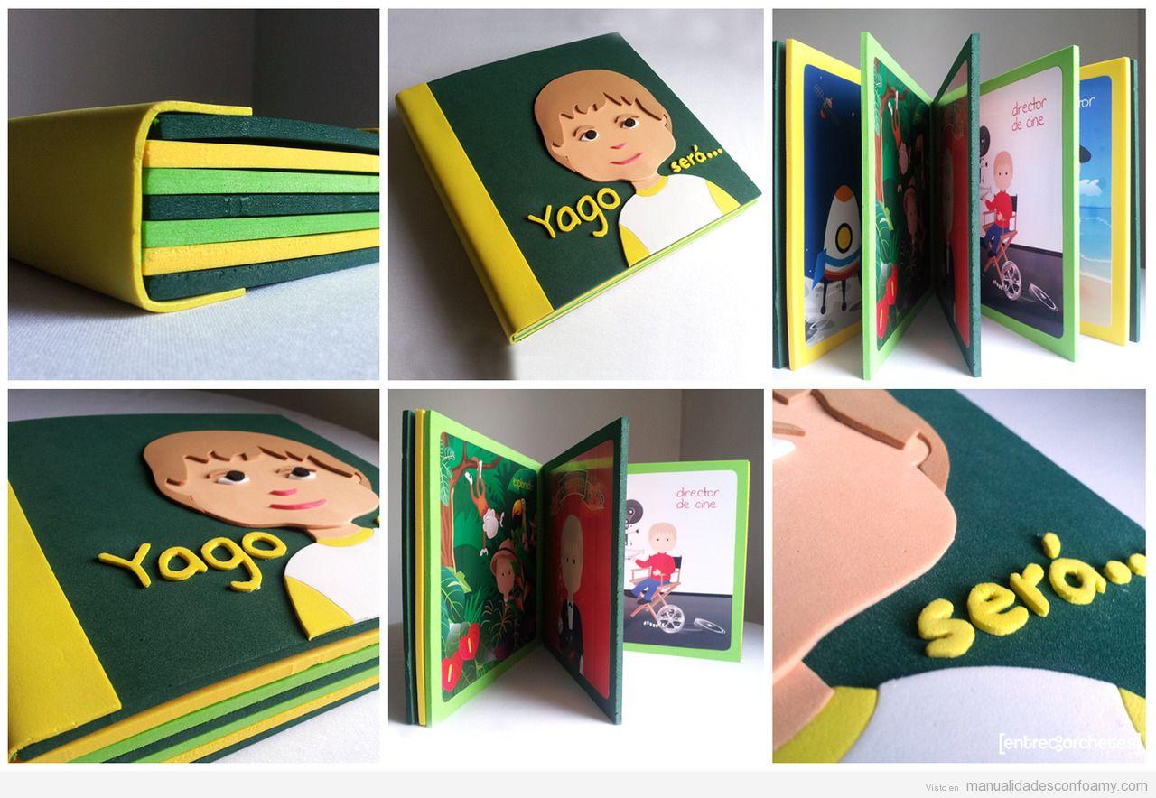 Manualidad infantil, libro bebé personalizado de foamy