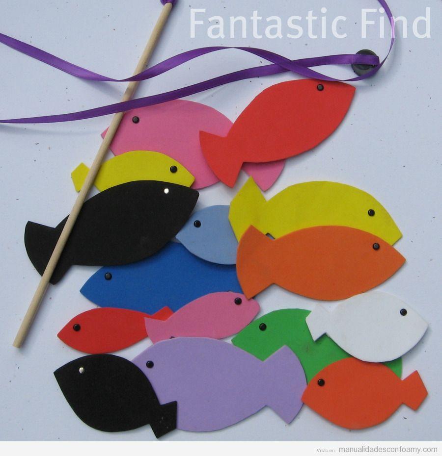 Manualidad fácil de foamy para niños con forma de pez