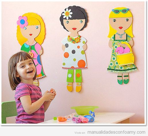 Mu eca grande de foamy para pared manualidades con foamy - Decorar paredes infantiles con goma eva ...