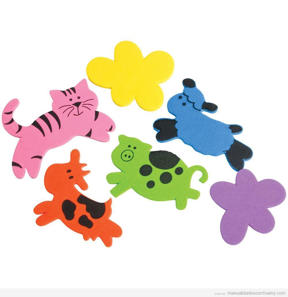 Tigre, oveja, vaca y cerdo, manualidad para niños con goma eva