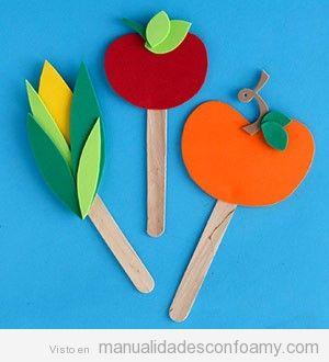 Vegetales de foamy, tomate, maiz y manzana, manualidades niños