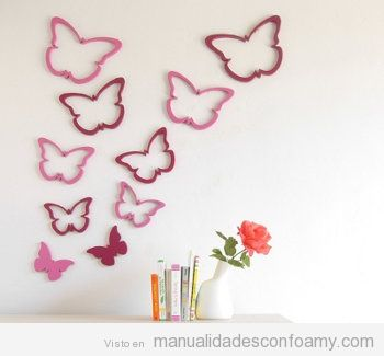 Mariposas de foamy para decorar una pared manualidades - Manualidades para decorar paredes ...
