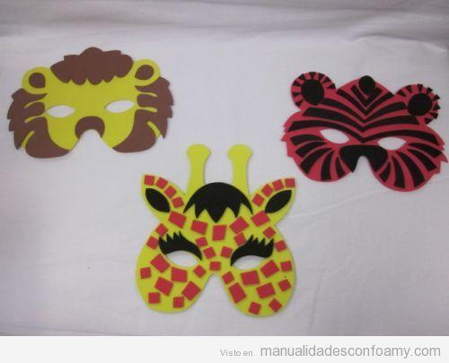 Máscaras o caretas para fiestas de niños con goma eva