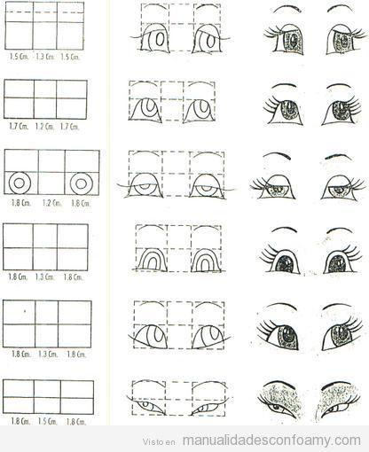 paso y plantillas para dibujar los ojos de las muñecas fofuchas