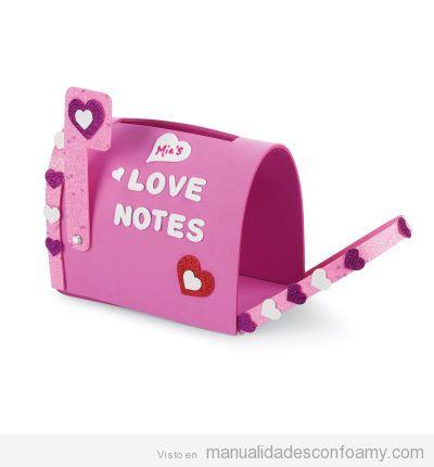Manualidades foamy niñas, buzón cartas de amor