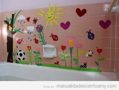 Mural para bañera hecho con goma eva, manualidades para niños