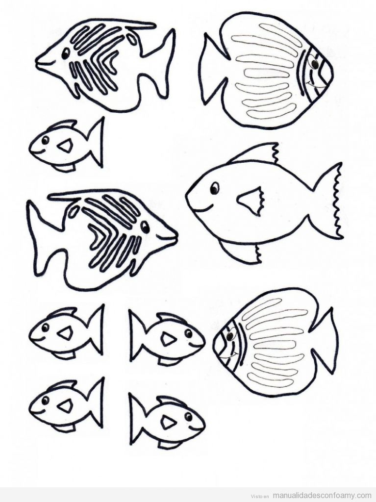 Plantilla o molde de pez peces para manualidades con niños