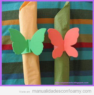 Portaservilletas con forma mariposa, manualidad goma eva