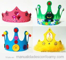 Coronas de cumplea os de goma eva manualidades con foamy - Coronas infantiles de cumpleanos ...
