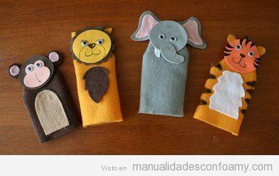 Marionetas de animales hechas con fieltro y goma eva