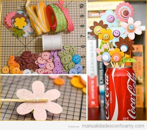 Ramos de flores de goma eva o foamy y botones