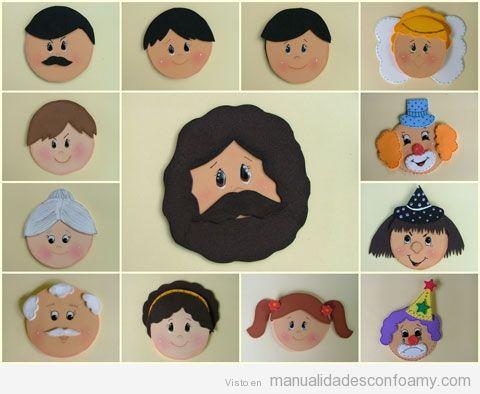Caras de personas de una familia hechas con goma eva