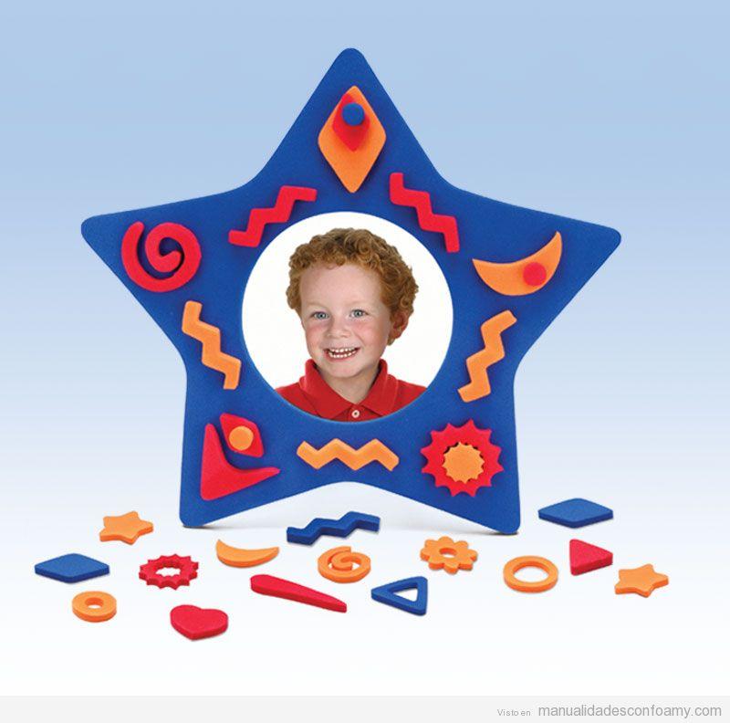 Marco fotos  goma eva con forma de estrella