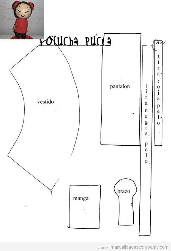 Plantilla Muñeca Fofucha Pucca de goma eva