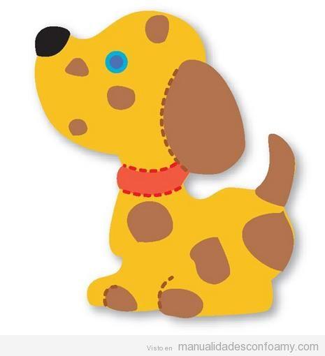 Plantilla o molde con forma de perro para manualidades para niños en goma eva