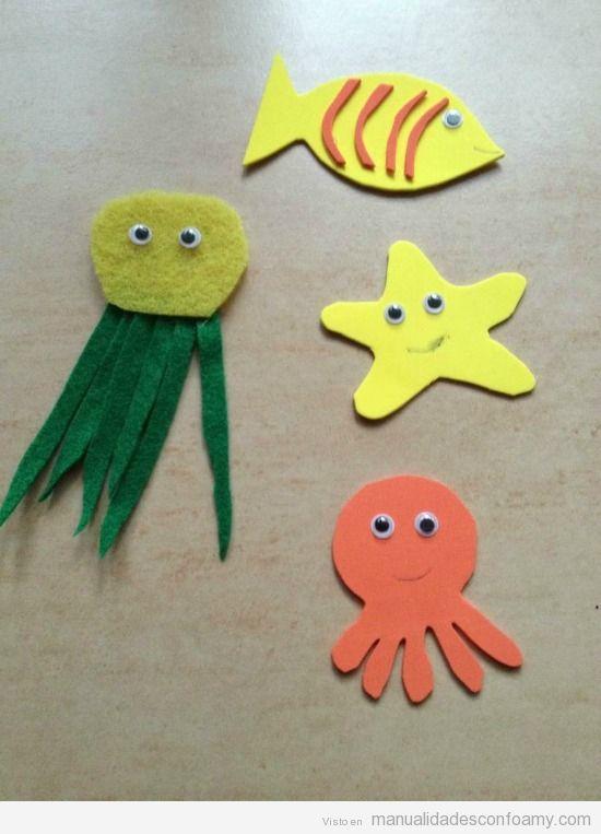Manualidades con niños para verano, animales marinos en goma eva