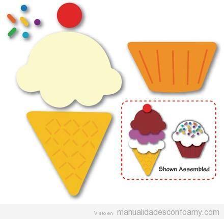 Molde para manualidad para niños, helado de goma eva
