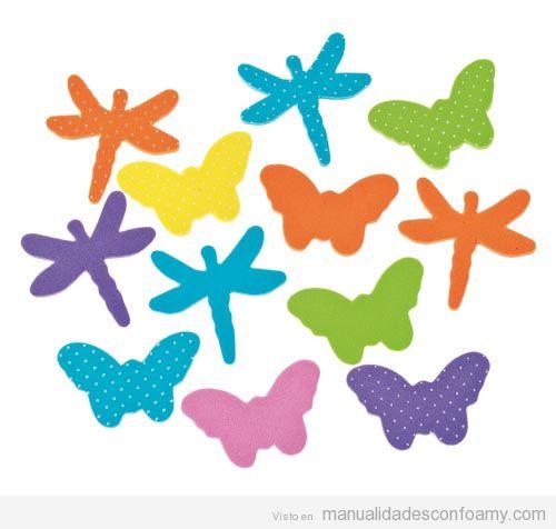 Plantilla o molde para hacwer manualidades de goma eva con forma de mariposa y libélula