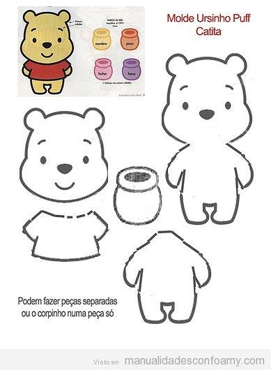 Plantilla gratis para hacer un Winnie de Pooh de foamy