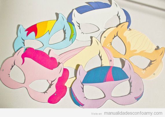 Antifaces My little pony hechos con foamy para fiestas infantiles