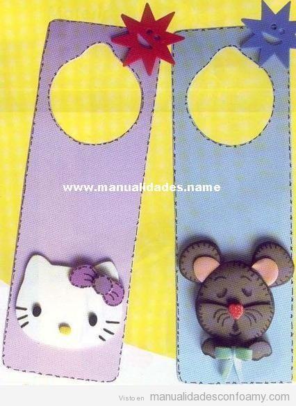 Punto de libro de goma eva con Hello Kitty y ratón