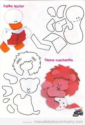 Pato y León de foamy con molde para descargar gratis