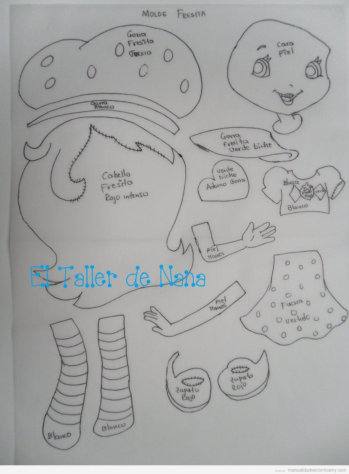 Plantilla para hacer la muñeca Fresita en goma eva • Manualidades ...