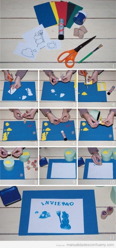 Manualidades en foamy para hacer con niños, mural de invierno