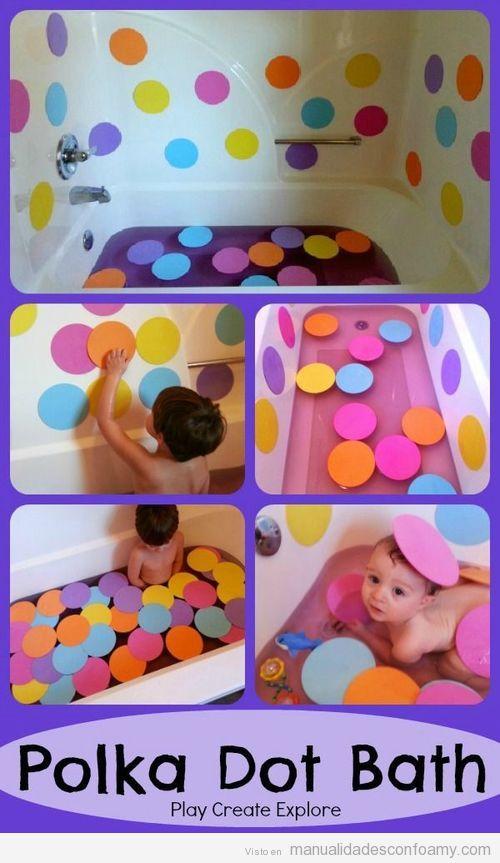 Círculos de colores en goma eva para hacer un baño divertido con los niños