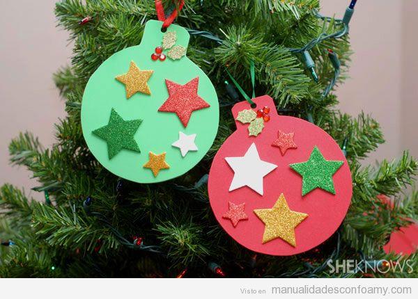 Manualidades foamy para niños, bolas de árbol de Navidad