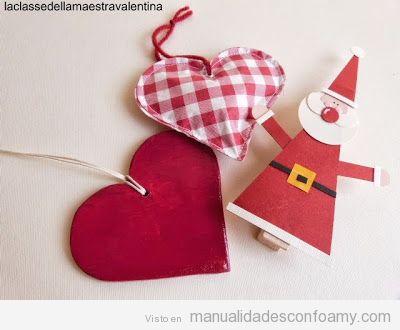 Decoración de Navidad, Papa Noel y corazones en foamy