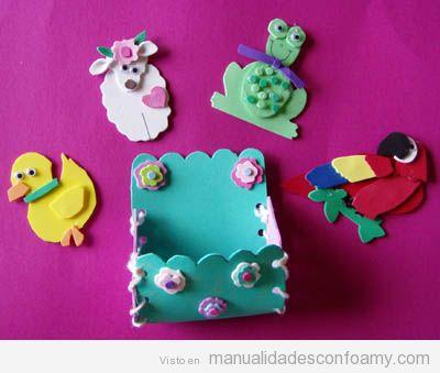 Pato, oveja, rana y loro en goma eva, manualidades para niños
