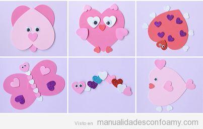 Seis animalitos creados con foamy o goma eva y decorados con corazones.