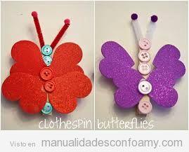 Manualidads foamy, mariposa sobre pinzas de la ropa