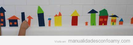 Manualidad goma eva para niños, casas para decorar pared