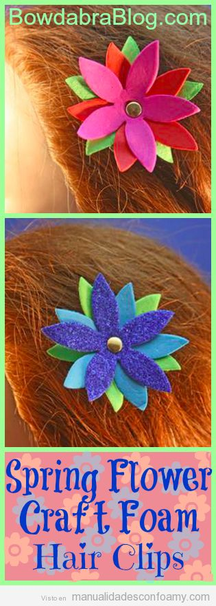 Flor de goma eva, clip del pelo con forma de flor