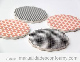 Posavasos en foamy y washi tape