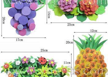 Racimo de uvas, flores y piñas, manualidad en goma eva para niños