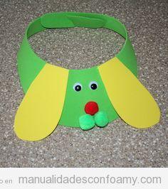 Manualidades goma eva para niños, visera con forma de perro