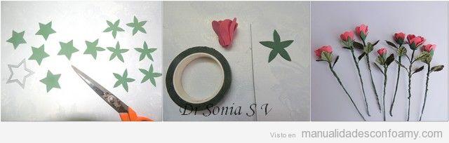 Tutorial para aprender a hacer rosa de goma eva 5