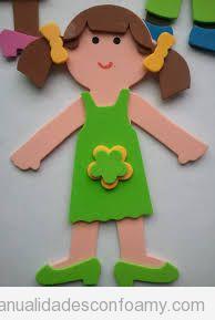 Manualidades fáciles goma eva para niños, muñeca 2D