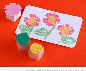 Sellos de goma eva para estampar flores, manualidad para niños