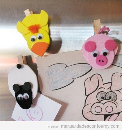 Pollo, cerdo y oveja de goma eva en pinzas, manualidades para niños